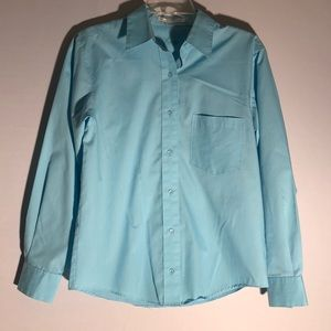 FoxCroft Blue Button Down Blouse M14